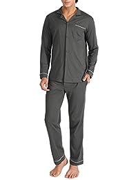 df66b149be Genuwin Mens 100% Cotton Pyjama PJ Set (2 Piece) Men s Long Sleeve Button