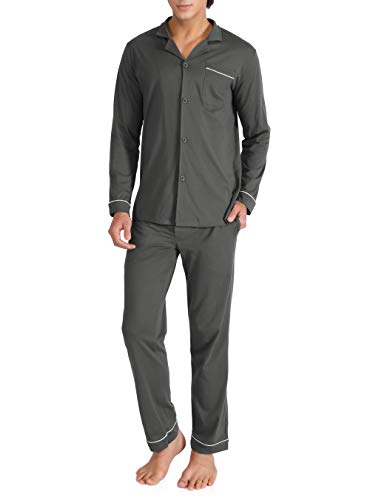 838444f045ad Genuwin Pigiama da Uomo Intero Set di 100% Cotone, Design Elegante e  Classico Super Soft e Comodo, Maglietta & Pantaloni Abbigliamento da Casa,  ...
