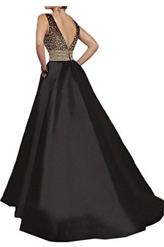 ivyd ressing robe roman V pierres de la découpe Table Satin A ligne Party Prom robe Lave-vaisselle robe robe du soir Schwarz
