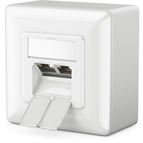 deleyCON 1x CAT6 Universal Netzwerkdose - 2X RJ45 Port - Geschirmt - Aufputz oder Unterputz - 1 Gigabit Ethernet Netzwerk - EIA/TIA 568B - Weiß -