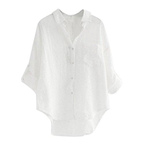 Kanye Kostüm West Weiß - ESAILQ Damen Tunika Sommer Tops Damen Kurzarm Basic Uni Leichtes Freizeit Rundhals mit Knopf Plissee T-Shirt Oberteile(XXL,Weiß)