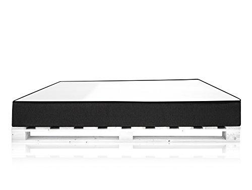 PALETTI Massivholzbett inkl. Moody Komfort Matratze mit Memory-Schaum Holzbett Palettenbett Bett aus Paletten in 140 x 200 cm Fichte weiß, 140 x 200 cm, Fichte