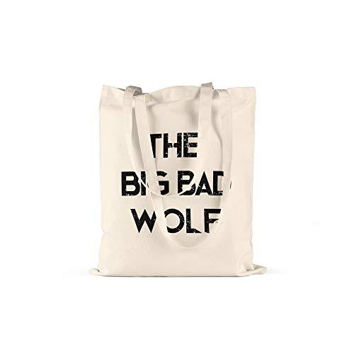 licaso Jutebeutel Bedruckt The Big Bad Wolf Print in Natur Baumwolltasche mit Langen Henkeln Beutel Motiv Druck Ökologisch & Nachhaltig Tragetasche 100% ()