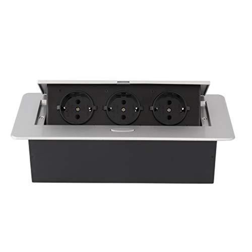 prinfong–Toma Multitoma empotrable regleta de 3enchufes giratoria 16A extensión apta para cocina,...