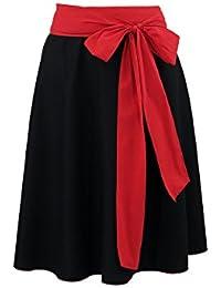 By Johanna Süßer Trachten-Rock mit roter Schleife.Glockenrock fürs Trachten-Outfit mit Trachten-Bluse.Damen-Rock auch zum Shirt Jeans-Jacke oder Freizeit Business.Schwarz Kurz Stickerei Rot