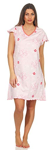 Damen Sleepshirt rosa mit Alloverdruck 44/46 (L) leichtes Nachthemd Wohlfühlen Home Dress Hauskleid locker legere maximale Passform klassisch und modern - Rosa Sleepshirt