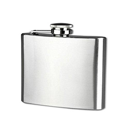 Longra Hip acero inoxidable de bolsillo frasco de alcohol del whisky licor Tapón de tuerca + Embudo (Size:5
