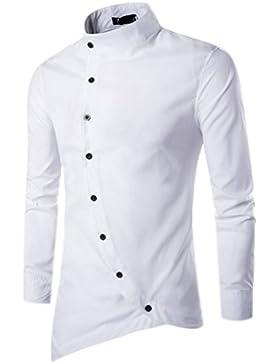 Camicie Uomo Slim Fit Maniche Lunghe Casual Camicia Top Camicetta Shirt Moda Men Camicia Abito Fantasia Asimmetrica...