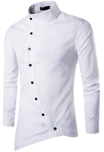 Camicie uomo slim fit maniche lunghe casual camicia top camicetta shirt moda men camicia abito fantasia asimmetrica shirts bianca m