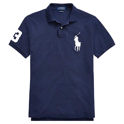 Ralph Lauren Poloshirts Big Pony Custom Slim Fit Polo Piqué schwarz, weiß, blau (M, Blau)