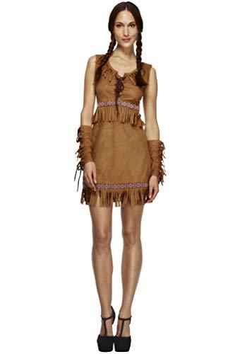 Fever Damen Pocahontas Kostüm, Kleid und Armmanschetten, Größe: S, - Damen Pocahontas Kostüm Braun