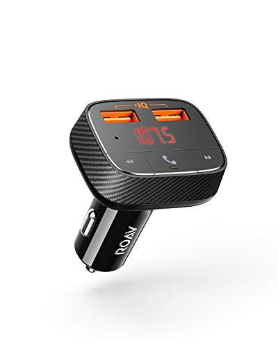 Anker ROAV Auto Ladegerät Bluetooth-Empfänger FM-Transmitter, SmartCharge F0 mit Bluetooth 4.2, dualen USB-Ports, PowerIQ-Technologie und AUX-Funktion