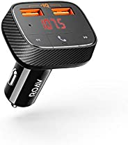 ROAV by Anker, SmartCharge F0 FM Transmitter/Bluetooth Receiver/Car Charger with Bluetooth 4.2, 2 USB Ports, P