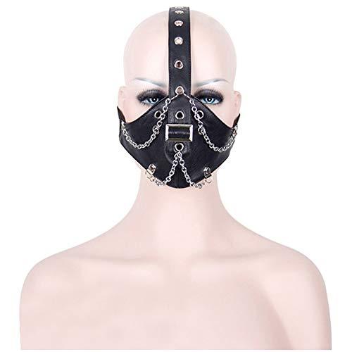 Peggy Gu Cool Chain Design Motorrad Anti Staub Maske Half Face Gothic Steampunk Biker Männer Cosplay Wind Cool Punk Halloween Maskerade ()