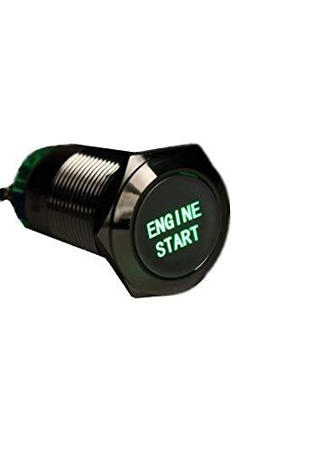 YONGYAO 12V 19mm Waterproof Auto Metal Momentané Moteur Démarrage Bouton Poussoir Interrupteur LED-Vert
