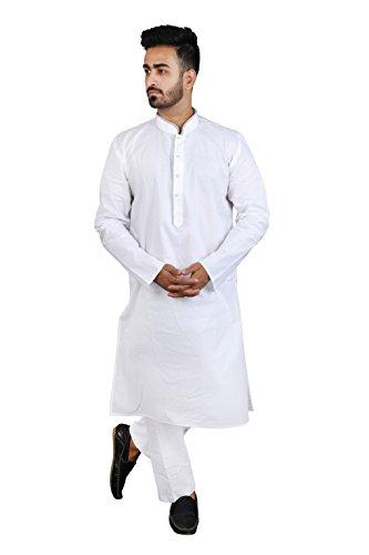 Thaath Men's Ethnic White Kurta Pyjama Set with Piping (Eid Collection)