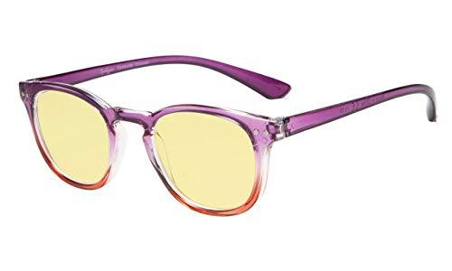 Eyekepper Blue Light Blocking-Computerbrille Digital Eye Strain Prevention-Lesebrille mit gelb getönten Gläsern (Lila-roter Rahmen, 2.75)