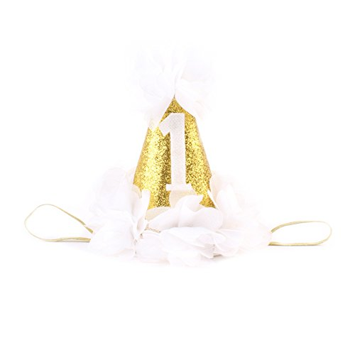 TININNA Baby Mädchen handgemachte Partei 1. Geburtstag Stirnband Krone Hut Prinzessin erste Geburtstag Kegel Hut Party tragen (Weiß) (Kegel-party-hüte Weiß)