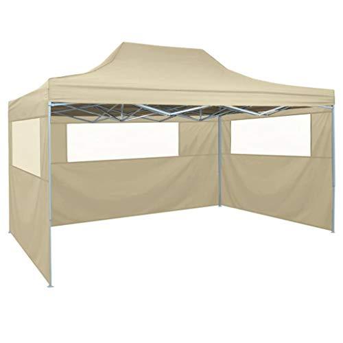 Festnight- Faltzelt Pavillon 3 x 4,5 m   Partyzelt mit 3 Seitenteilen für Garten Terrasse Markt Camping Festival Hochzeit Picknick   UV- und Wasserfest Creme