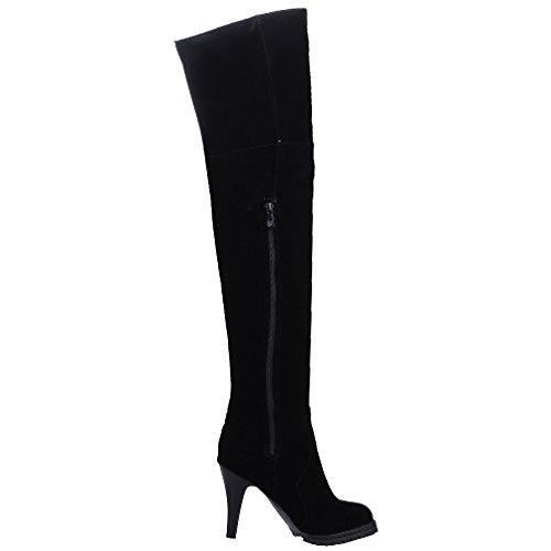 ENMAYER Femmes Party Ladies Nubuck Round Toe High Heel Over Les Bottes du Genou Avec Dentelle Noir