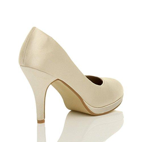 Femmes talons hauts moyen soirée élégant simple escarpins chaussures pointure Satin ivoire
