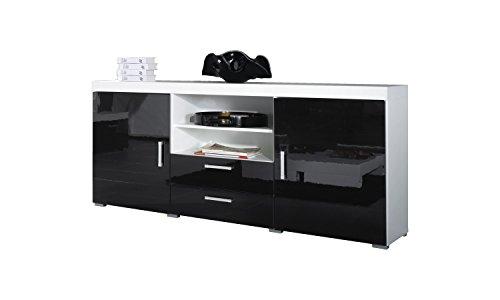 Furniture24 Sideboard Kommode Samba Hochglanz (Weiß/Schwarz Hochglanz)