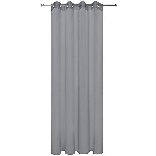 Beautissu Transparenter Ösen-Vorhang Amelie - 140x245 cm Grau Uni - Voile Dekoschal Gardine Ösenschal Fenster-Schal