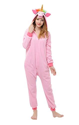 (Ghope Adulte Unisexe Anime Animal Pyjama kigurumi Licorne Costume Cosplay Combinaison Outfit Nuit Vêtements Onesie Fleece pink S)