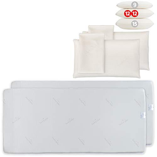 Probiotic Vorteilsset: 2 Argentum+ Nackenstützkissen (80x40x12cm) mit 2 Matratzenauflagen (90x190cm), je aus viscoelastischem Gelschaum, mit Silberionen