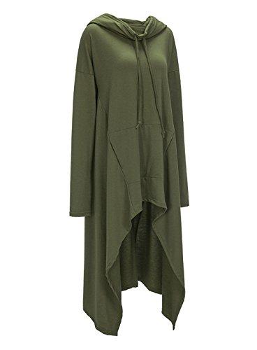 Autunno Lnvernali Donna Collo Alto Oversize Asimmetrico Sweatshirt Casual Hoodies Maglietta Jumper Tops Maniche Lunghe Felpe Vestito Signora Lungo Felpa con Cappuccio Pullover Verde scuro
