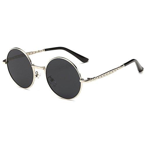 Highdas ronde Enfants lunettes de soleil polaris¨¦es Enfants B¨¦b¨¦ Lunettes de soleil Anti-UV400 Vintage Gris argent¨¦