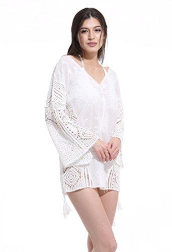 YAANCUN Donne Manica Lunga Pizzo Floreale Hollow Costumi Da Bagno Coprire Beachwear Estate Abito Da Spiaggia Bikini Cover-Up Trasparente Bianco