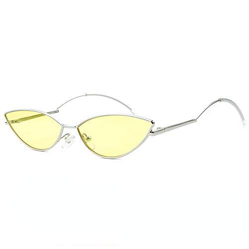 Yiph-Sunglass Sonnenbrillen Mode Kleine Metallrahmen Trimmen Die Sonnenbrille Weibliche Farbverlauf Ozean Farbe Sonnenbrille Joker Polygon Sonnenbrille Qualität Sonnenbrille (Farbe : Gelb)