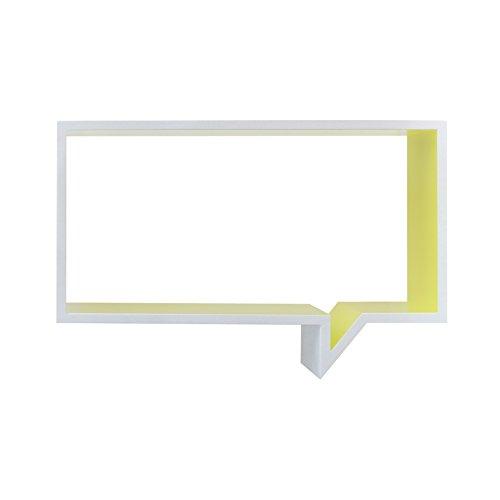 Mobili Rebecca® Bibliotheque Etagere Murale Bois Blanc Jaune Design Moderne Salon Chambre (Cod. RE4647)