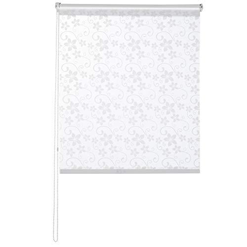 casa pura® Fashion Rollo Blossom | Blickdicht & lichtdurchlässig | Klemmrollo für Fenster, auch ohne Bohren anbringbar | 9 Größen (110x150cm)