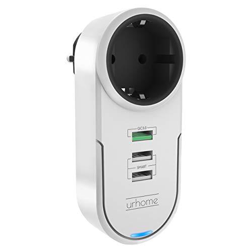 Urhome® 4in1 Steckdosen-Adapter I 180° drehbar I 3x USB (1x 3.0 Fast Charger) Weiß - Drehbare Steckdose Mit Überspannungsschutz
