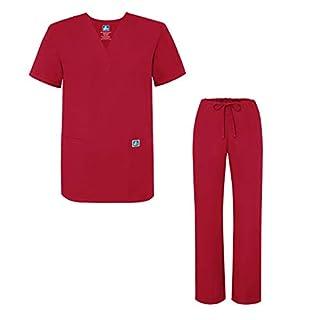 Adar Medical Uniforms Unisex Drawstring Hospital Nurse Scrub Set - 701 - Red - M