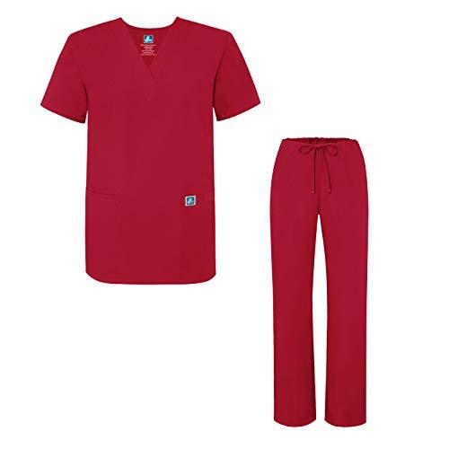 Adar Universal Medical Scrubs Set Medical Uniforms - Unisex Fit - 701 - RED -XL - Lange Scrub-tops