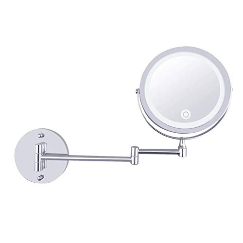 MRJ Espejos de Aumento de Pared, 7 Pulgadas Espejo Maquillaje con luz LED 10x Aumento, Doble Cara giratoria...