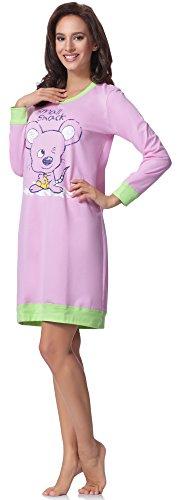 Italian Fashion IF Damen Nachthemd Cheerful 0111 Rosa/Grün