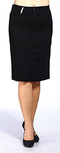 Frauen plus Größen-Denim-Rock Geknöpfter Black Pencil Skirt 60 cm (Pencil-skirt Seam)