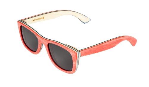 amoloma Holz Sonnenbrille Skateboard rot Der Rahmen der Brille besteht aus Skateboard Holz/wayfarer style