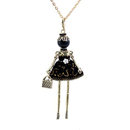 AISHIPING Gold Metall Puppe Anhänger Halskette Solide Cupcake Kleid Lange Hals Kette Quadrat Metall Taschen Anweisung Schmuck