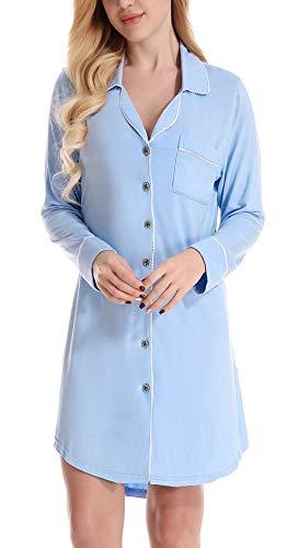 NORA TWIPS Pyjama für Damen, Damen T Shirt Kleid Schlafshirt Knopfleiste Nachthemd Modal Nachtkleid Sleepshirt Nachtwäsche(MEHRWEG) -