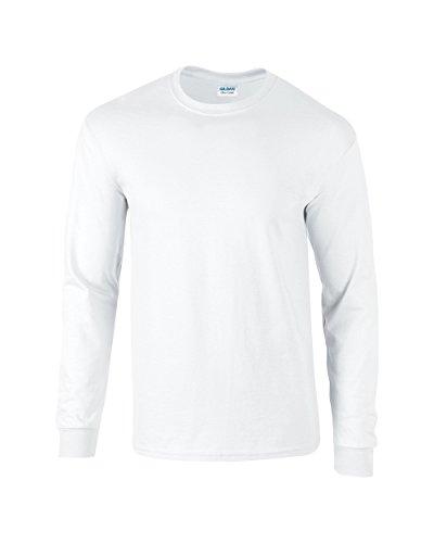 Erwachsene Ultra Cotton T-shirt (Gildan Ultra Cotton, T-Shirt mit langen Ärmeln Gr. S, weiß)