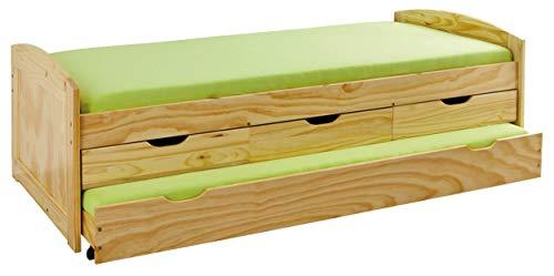 Jugendbett Massivholzbett 90x200cm Kinderbett Bett Funktionsbett Kojenbett Sofa-Bett in Natur mit Genug Stauraum Kiefer massiv inkl. Lattenrost