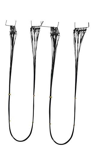 20 Stahlvorfächer 1x7 mit Wirbel 60cm angeln Hecht - 15KG Angel Stahlvorfach ummantelt Raubfisch Karabiner Zubehör Set ab 50cm lang fein 12KG Barsch Zander fertig dünn flexibel schwaz (20 Stück 60cm)