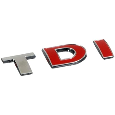 3D07228 - Rojo Emblema cromado 3D etiqueta insignia logotipo decorativo coche (3M autoadhesivo) TDI
