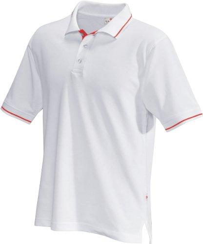 HAKRO Polo-Shirt Casual - 3-Loch Knopfleiste - 803 - weiß/rot - Größe: L (Baumwoll-casual Shirt Weiße)