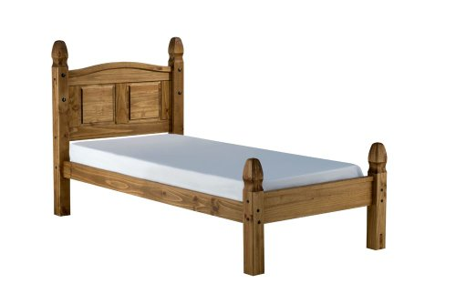 Happy Beds Corona Low Foot End 4' Small Double Size Classic Styled Antique Pine Finished Wooden Bed With Memory Foam Mattress